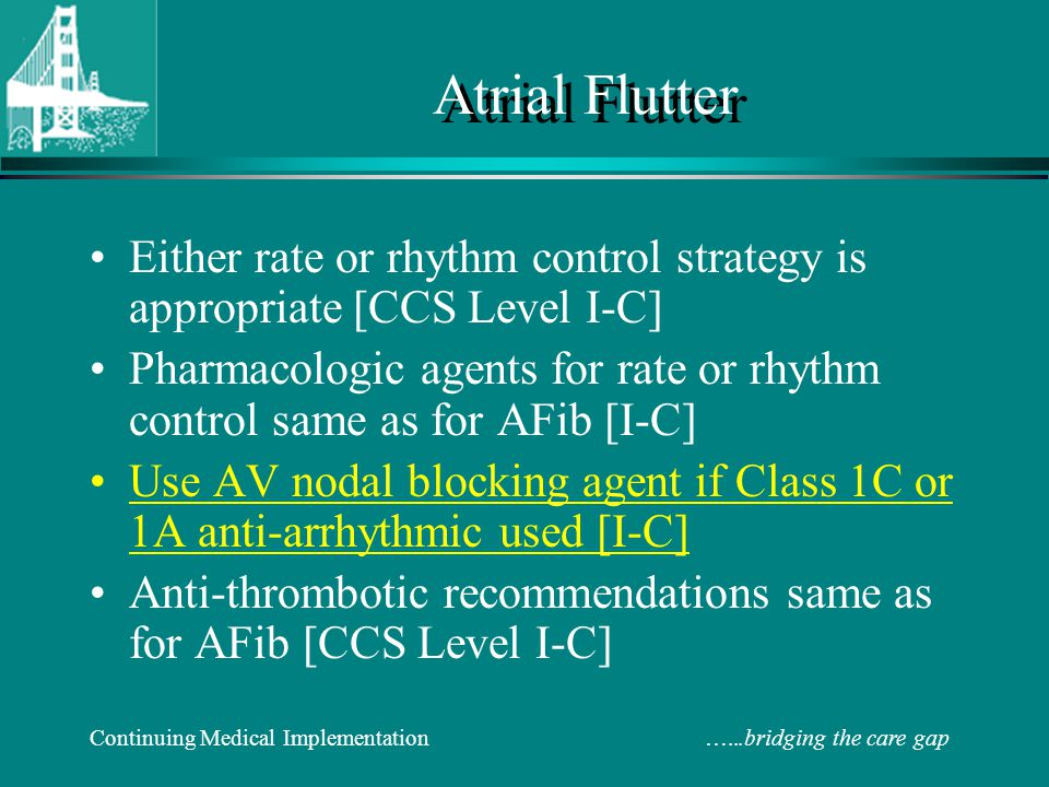 Atrial Flutter Either rate or rhythm control strategy is appropriate [CCS Level I-C]